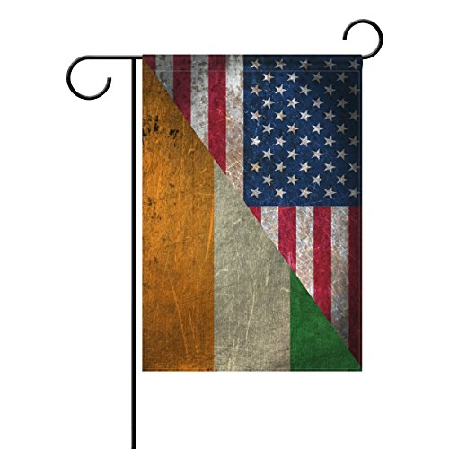 ALAZA Double Sided Vintage Irish United States of America Star Friendship Combination A Memorial Day Polyester Garden Flag Banner 12 x 18 Inch for Outdoor Home Garden Flower Pot Decor ()