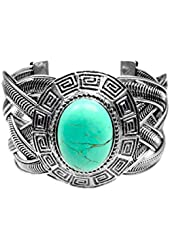Miao Inspired Silver Woven Cuff Bracelet - Oval Turquoise Stone with Deco Spiral Shield Frame