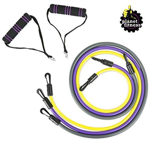 Planet Fitness Resistance Tube Band Set of 3 Stackable Exercise Bands with Handles for Home Workouts, Strength Training, Travel, Physical Therapy, -