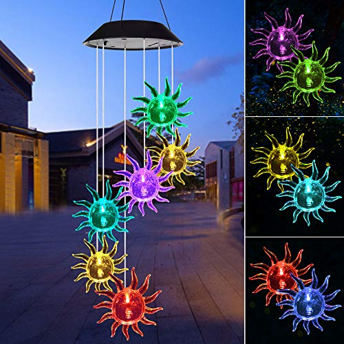 Wind Chime,solar lights chimes outdoor,Sun flower wind chimes led/solar hummingbird wind chime Outdoor yard decorations solar light mobile,memorial wind chimes(gifts for mom,birthday gifts for mom) (Ideas Special Mom For Gift)
