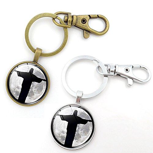 Key Chains Rings Keychains Jesus Crucifix Cross Moon Round Model Clip Hooks Men Women Retractable Decorations Loop Clasp 2 pcs【1797】 (1 GOLD&1 SILVER)