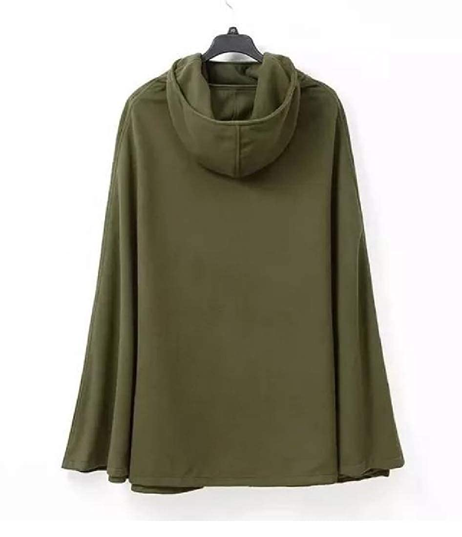 cb7b052892 Amazon.com  AngelSpace Women Plus Size Hooded Caftan Poncho Split Woolen  Coat Jacket  Clothing