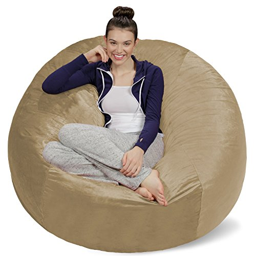 Sofa Sack - Plush Ultra Soft Bean Bags Chairs for Kids, Teens, Adults - Memory Foam Beanless Bag Chair with Microsuede Cover - Foam Filled Furniture for Dorm Room - Camel 5