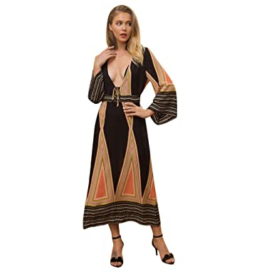 5552a99d SamMoSon Womens Fashion Stitching Color Sexy Dress Casual Deep V Neck  Bohemia Bow Tie Print Long Dress with Trumpet Sleeve High Waist Line:  Amazon.co.uk: ...