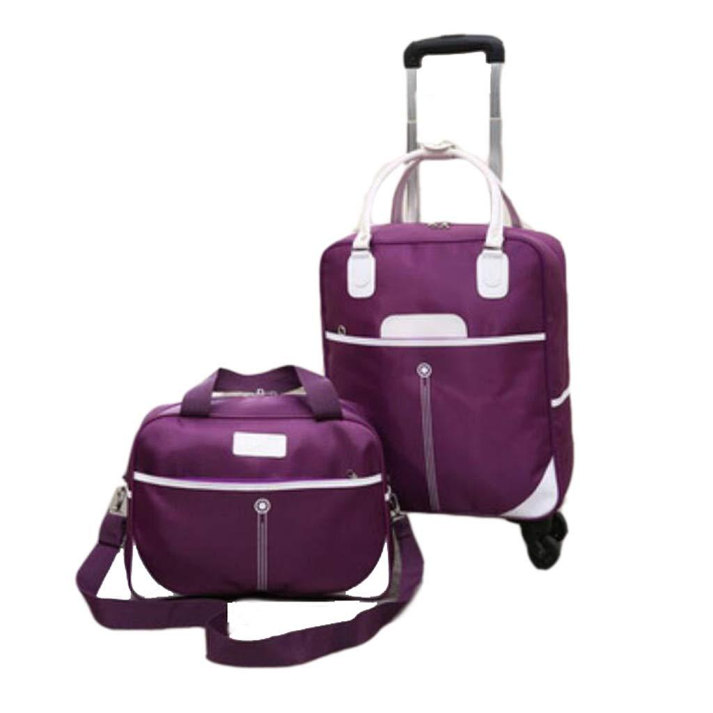多機能ユニセックスオックスフォード布ハンドバッグトロリーケース付き4スピナーホイール荷物旅行スーツケースツーピースセット (色 : Purple, サイズ さいず : M) Medium Purple B07MLFJG97
