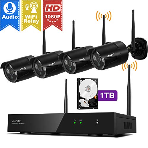 Wireless Security Camera Systems 1080p with Audio Ports, xmartO H.265 8CH Expandable NVR and 4X 2MP Full HD WiFi Security IP Cameras, Plug N Play, Long Range WiFi in, IP66 Night Vision, 1TB HDD