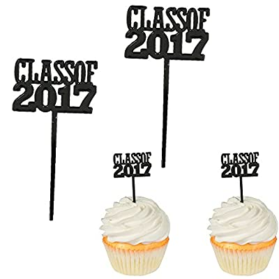 Class of 2017 Cupcake Food/Appetizer Picks for Graduation Party - 24 pc