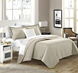 Chic Home 4 Piece Barcelo Traditional Embroidery Quilt Set with Embroidered Decorative Pillow, Queen, Taupe