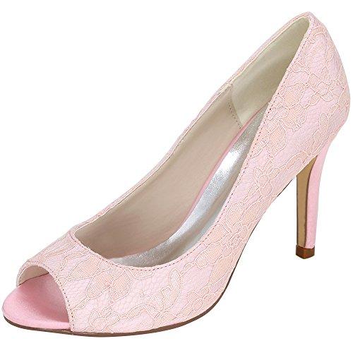 Loslandifen Kvinners Peep Toe Pumper Blonder Rhinestones Kveld Kjole Høye Hæler Pink