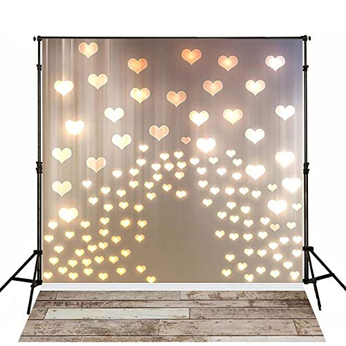 MEHOFOTO 5x7ft Newborn Photography Backdrops Collapsible Wood Floor Lighting Love Heart Photo Background for Kids Studio Props ()