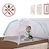 Baby Crib Tent for Bed, Portable Mosquito Net for Toddler Travel Play Canopy on Mattress Cover, Mesh Playpen Safety Kids from Sleep Bumper Nursery Netting on Cot Bedding, can be Folding with Pack Blue