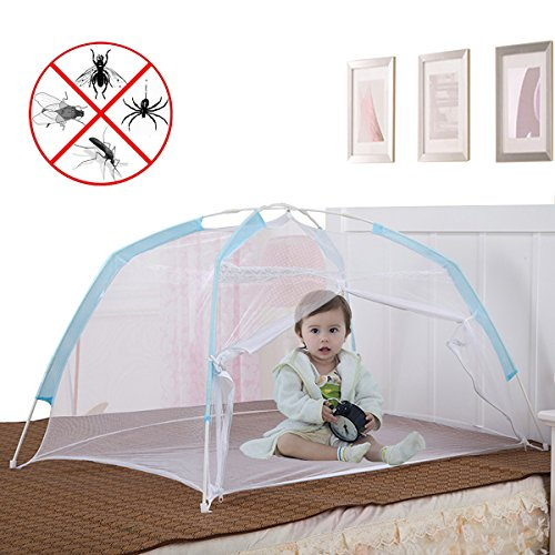 Baby Crib Tent for Bed, Portable Mosquito Net for Toddler Travel Play Canopy on Mattress Cover, Mesh Playpen Safety Kids from Sleep Bumper Nursery Netting on Cot Bedding, can be Folding with Pack Blue - Baby Cot Mattress