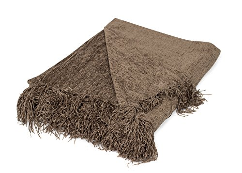 BIRDROCK HOME Internet's Best Chenille Throw Blankets | Taupe | Ultra Soft Couch Blanket with Fringe | Light Weight Sofa Throw | 100% Microfiber Polyester | Easy Travel | Bed | 50 x 60 ()