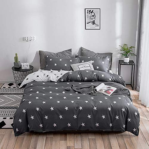 LuDan 3 Pcs Kids Bedding Sets for Unisex 1 Duvet Cover +2 Pillow Cases Twin Full Queen King Size,Without Comforter,Gift for Family,Friends,Birthday (Star, Full)