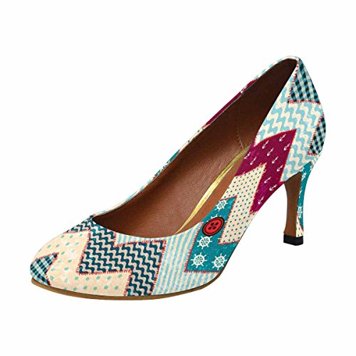 InterestPrint Womens Classic Fashion High Heel Dress Pump Chevron Patchwork in Nautical Style