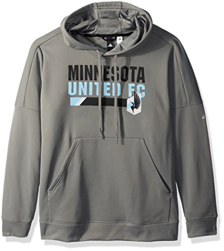 adidas MLS Minnesota United Adult Women Bottom bar Slant Team Issued Hood, X-Large, Ash Gray