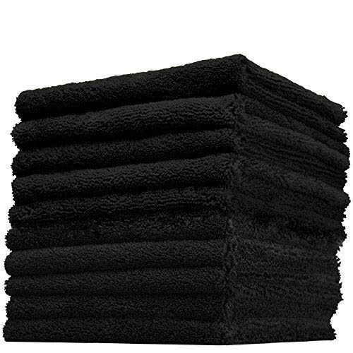 THE RAG COMPANY (10-Pack) 16 in. x 16 in. Professional Edgeless 70/30 Blend 420 GSM Dual-Pile Plush Microfiber Auto Detailing Towels Creature Edgeless (Black) -