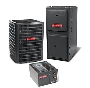 2.5 Ton Goodman 14 SEER R410A 96 AFUE 60,000 BTU Vertical Gas Furnace Split System