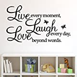 Live Laugh Love Removable Wall Stickers,Hemlock Home Letter Vinyl Wall Sticker (Black)
