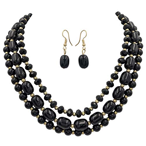 Gypsy Jewels 3 Row Layered Multi Color Beaded Necklace Dangle Earrings Set (Black Gold Tone)