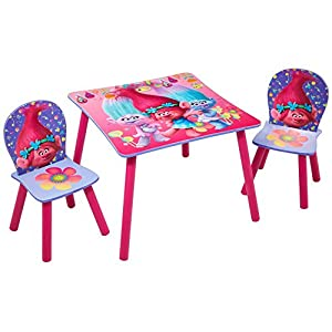 trolls kids childrens table and 2 chair set by hellohome
