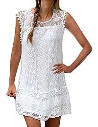 Shinekoo Women Plus Size Summer Sleeveless Lace Tank Top Mini Dress