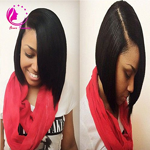 QIRUI HAIR Short Bob Human Hair U Part Bob Cut Wigs 8A Virgin Brazilian Hair 130% Density Left Opening 1X4 U Part Wig Natural Color for Black Women 10inch
