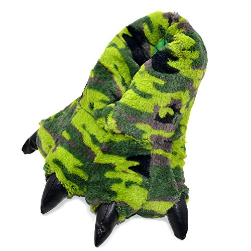 - Millffy Funny Slippers Grizzly Bear Stuffed Animal Claw Paw Slippers Toddlers Costume Footwear (Small/Medium - (Kids Size), Green Dino Camo)