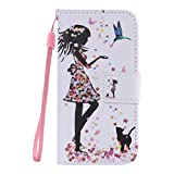 SZYT Phone Case for Apple iPhone 5/5S/5SE, 4.0 inch, PU Leather Flip Cover with Handle, Floral Skirt Girl Black Cat