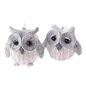 Set of 2 White Christmas Owl Hanging Decorations SM124