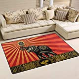 THUNANA Africa Elephant 60 x 39 in Soft Indoor Outdoor Area Rug Rugs Home Decor for Living Room Bedroom Kitchen