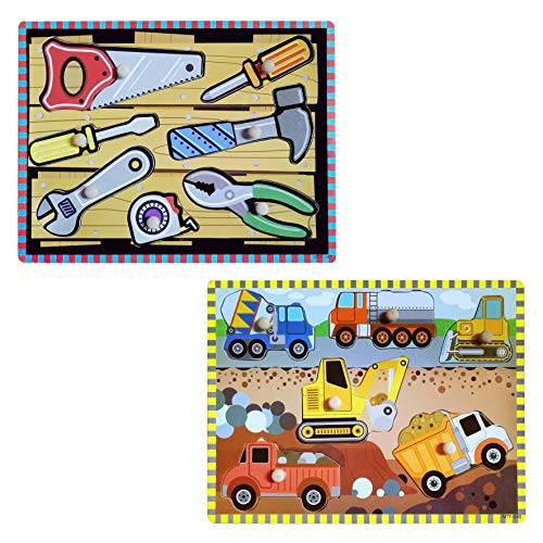 Wooden Peg Puzzles for Toddler 2 3 4 5 Year Old (Set of 2) -Vehicles and -