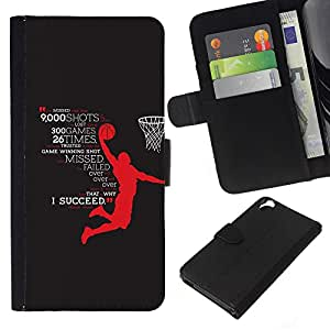 KLONGSHOP // Tirón de la caja Cartera de cuero con ranuras para tarjetas - éxito héroe baloncesto éxito estrellas - HTC Desire 820 //