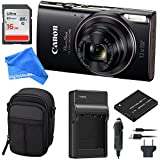 Canon PowerShot ELPH 360 Digital Camera w/Wi-Fi & NFC Enabled (Black) ESSENTIAL BUNDLE - Digital Camera Case + 16GB SD Card + Extra Battery & Battery Charger Kit + DigitalAndMore Micro Fiber Cloth