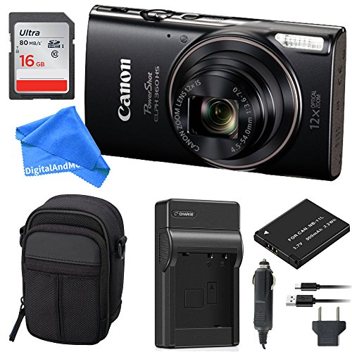 Canon PowerShot ELPH 360 Digital Camera w/Wi-Fi & NFC Enabled (Black) Essential Bundle – Digital Camera Case + 16GB SD Card + Extra Battery & Battery Charger Kit + DigitalAndMore Micro Fiber Cloth