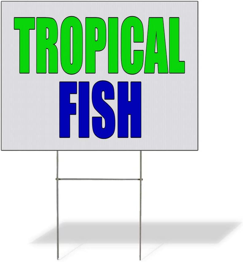 Fastasticdeals Weatherproof Yard Sign Tropical Fish Promotion Business White Lawn Garden Seafood Market Monger 18x12 Inches 2 Sides Print