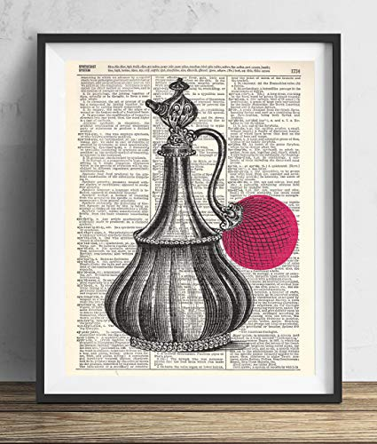 (Perfume Bottle With Pink Illustration Vintage Upcycled Dictionary Art Print 8x10)