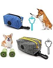 2Pcs Double & Single Zipper Dog Poop Bag Holder, Dog Poop Bag Dispenser Leash Attachment with Hook, Pet Waste Bag Dispenser Including 2 Roll of Pick-up Bags for Walking Training Running Hiking