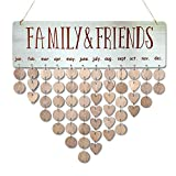 Family Friends Calendar Wood Wall Hanging Plaque Family Friends Birthday Gifts DIY Reminder