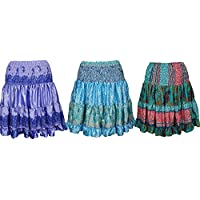 Mogul Interior Womens Swirling Flare Skirt Vintage Recycled Tiered Just Delightful Knee Length Skirts Wholesale Lots Of 3
