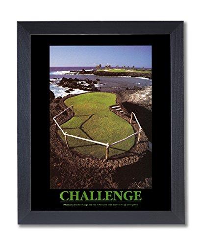 Challenge Framed Motivational Print (Solid Wood Black Framed CHALLENGE Motivational Ocean Golf Pictures Art Print)