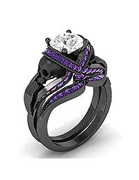 1.33 Cttw Round Cut White Simulated Diamond & Purple Amethyst 14k Black Gold Plated Two Skull Wedding Band Engagement Bridal Ring Set-Fashion Ring