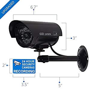 WALI Bullet Dummy Fake Surveillance Security CCTV Dome Camera Indoor Outdoor with one LED Light + Warning Security Alert Sticker Decals WL-TC-B1