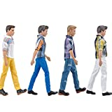 E-TING 4 Sets Casual Suit Plaid Shirt T-shirt and Jeans Pants Trousers Doll Wearing Clothes For Barbie Ken Dolls