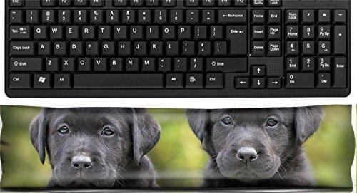 Liili Keyboard Wrist Rest Pad Office Decor Wrist Supporter Pillow Portrait of two black Labrador Retriever puppies Photo -
