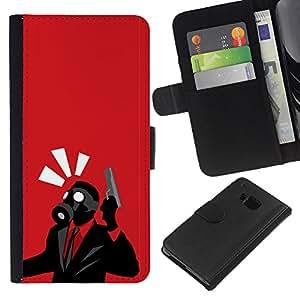 LECELL--Cuero de la tarjeta la carpeta del tirón Smartphone Slots Protección Holder For HTC One M9 -- Spy Psycho B0Rderlands Tf del juego del juego --