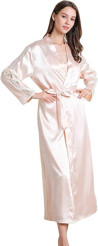 FEOYA Ropa de dormir para mujer de satén con kimono, bata de ...