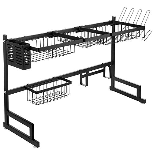 SANNO Large Over The Sink Dish Drying Rack, Dish Drainer Shelf for Kitchen Supplies, 2-Tier Utensils Cutlery Holder Storage Rack for Kitchen Counter Organization, Black Stainless Steel