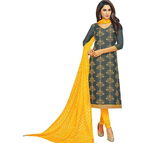 Womens Chanderi Silk Embroidered Salwar Kameez with Bandhej Dupatta Indian Stitched Salwar Suit Ready to (Salwar Kameez Dupatta)