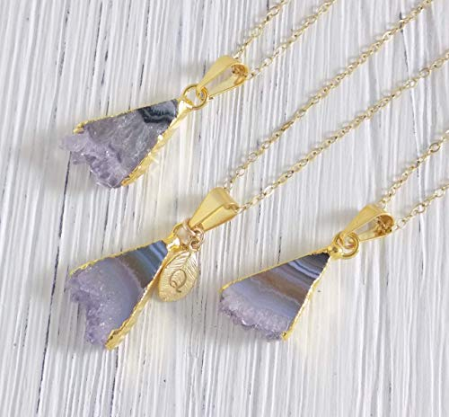 Personalized Amethyst Necklace Triangle Purple Small Amethyst Slice Druzy Pendant Gold Layer Custom Initial Charm